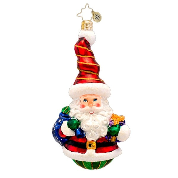 Christopher Radko Glass Rolly Claus Twist Top Santa Christmas Ornament #1017314 - RED