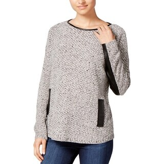 BCX Womens Sweater Faux Leather Trim Long Sleeves