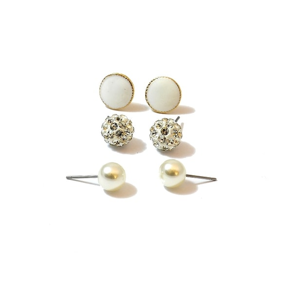 White Multi Earrings Enamel Stone Pearl Set