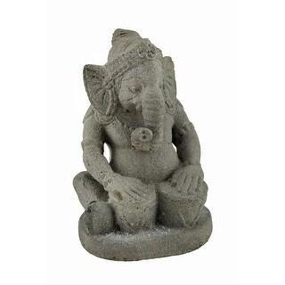 8 Inch Tall Hindu God Ganesh Volcanic Stone Statue - gray