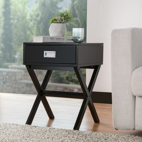 "Glitzhome Modern Shape X Side Table With Drawer - 16"" x 22"""