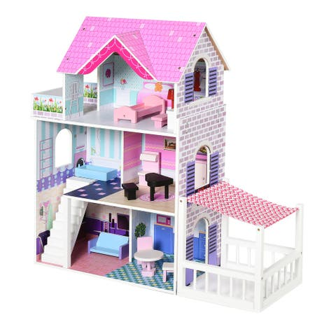 Qaba Kids Dollhouse Dreamhouse Villa with Patio Furniture Accessories for Toddler Girls Multi-Level House for Children Pink