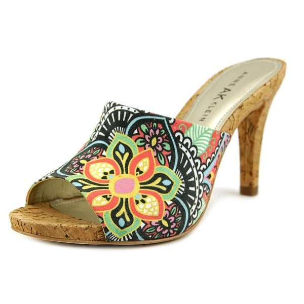 Anne Klein AK 7 Objective Women Peep-Toe Canvas Multi Color Mules