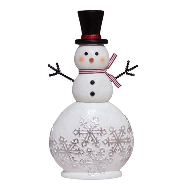 "20"" Glittered Snowman Adorned with Silver Snowflakes Christmas Table Top Decoration - WHITE"