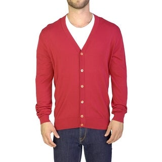 Prada Men's Cotton Cardigan Sweater Red
