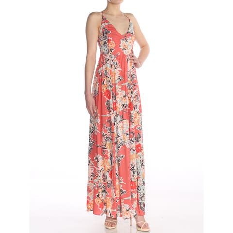 d93c3ee5e00 FREE PEOPLE Womens Coral Printed Sleeveless V Neck Maxi Dress Size  XS