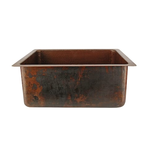 Premier Copper Products BREC20DB 20-inch Hammered Copper Kitchen/Bar/Prep Single Basin Sink