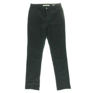 Jones New York Womens Lexington Twill Mid-Rise Straight Leg Pants