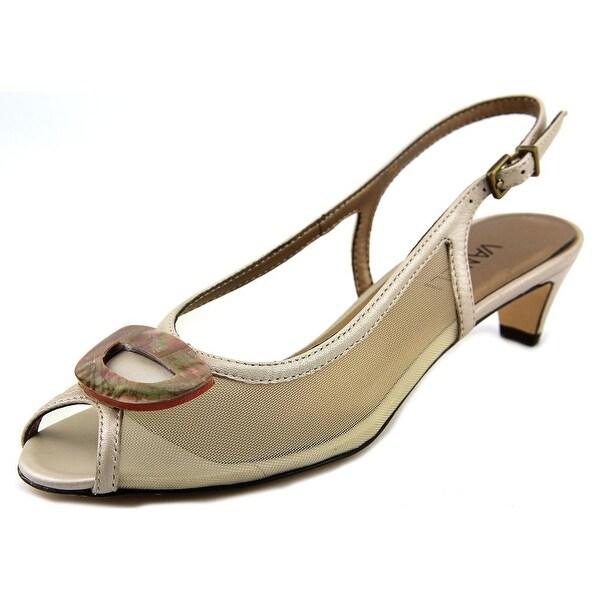 Vaneli Bowl Women  Open-Toe Leather Tan Slingback Heel