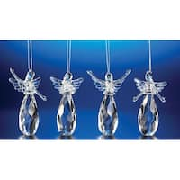 "Club Pack of 24 Icy Crystal Assorted Christmas Praising Angel Ornaments 4"" - CLEAR"