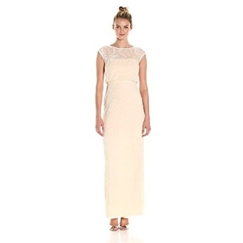 47ca19f8f Shop Adrianna Papell Women's Cap Sleeve Beaded Blouson Gown, Champagne, 16  - Free Shipping Today - Overstock - 18848940
