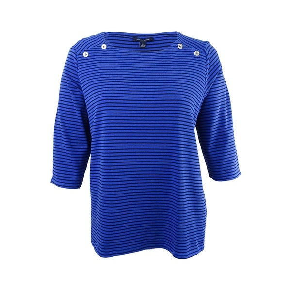 95c6eba993 Shop Tommy Hilfiger Women's Plus Size Striped Chambray-Back Top (1X,  Cobalt/Black) - Cobalt/Black - 1X - On Sale - Free Shipping On Orders Over  $45 ...