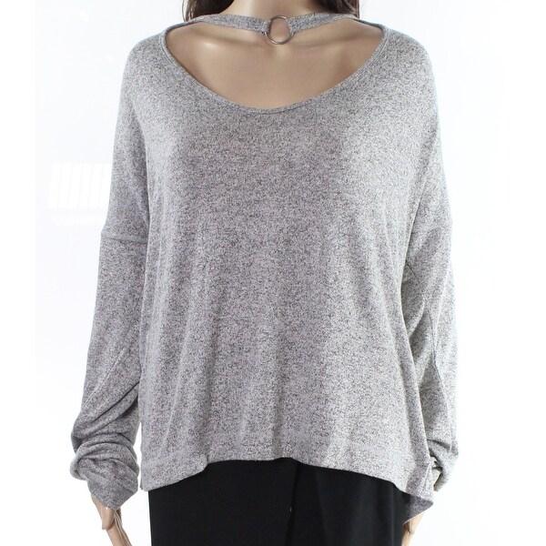 Moral Fiber Gray Women's Size 2X Plus Marled Cutout Knit Top