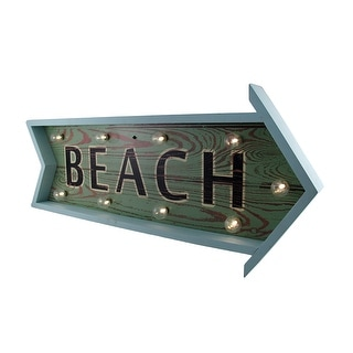Blue Distressed Finish Lighted LED Beach Arrow Wall Sign