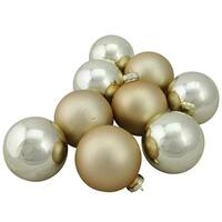 "9-Piece Shiny and Matte Champagne Gold Glass Ball Christmas Ornament Set 2.5"" (65mm)"