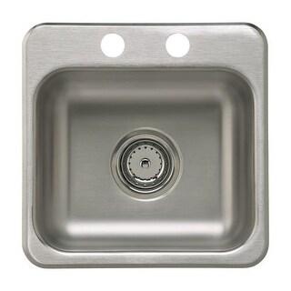"Sterling B155B-2 15"" Single Basin Drop In Stainless Steel Bar Sink with SilentShield"