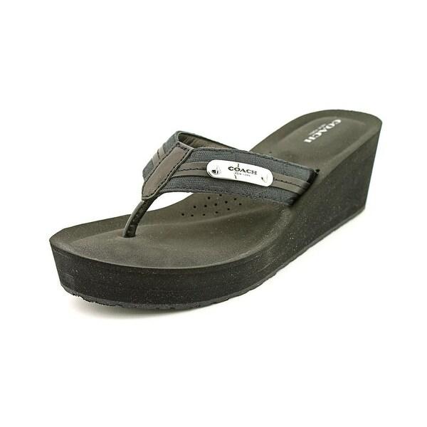 Coach Jaden Women Open Toe Leather Black Wedge Sandal
