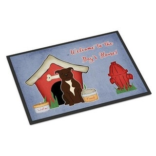 Carolines Treasures BB2802MAT Dog House Collection Staffordshire Bull Terrier Chocolate Indoor or Outdoor Mat 18 x 0.25 x 27 in.