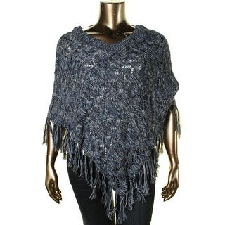 John Paul Richard Womens Knit Fringe Poncho Sweater