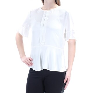 DKNY $179 Womens New 1230 Ivory Pleated Short Sleeve Jewel Neck Casual Top M B+B