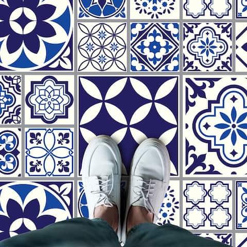 Walplus Spanish Moroccan Blue Mix Tiles Self Adhesive Floor Sticker