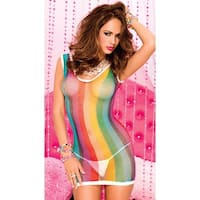 Rainbow Fishnet Chemise - One Size Fits most