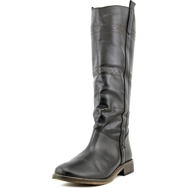Musse & Cloud Amei Women Round Toe Leather Black Knee High Boot