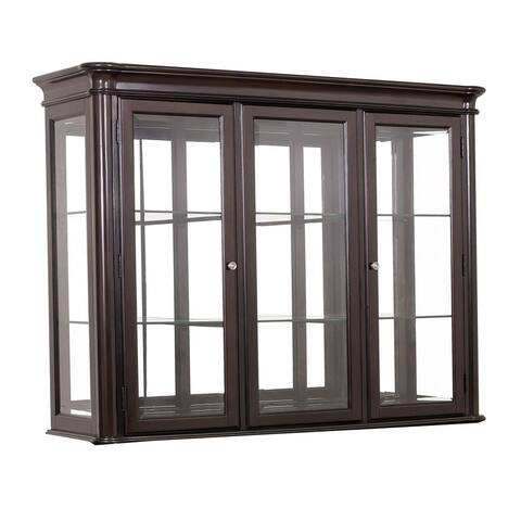 2 Glass Door Transitional Wooden Hutch with Inside Shelves, Cherry Brown