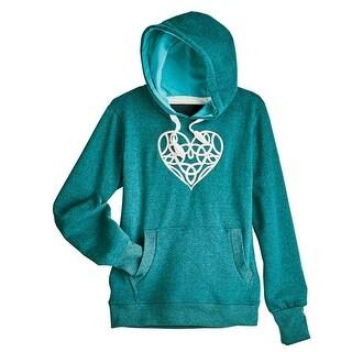 Women's Embroidered Celtic Heart Hooded Sweatshirt - Green