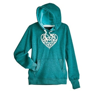 Women's Embroidered Celtic Heart Hooded Sweatshirt - Green