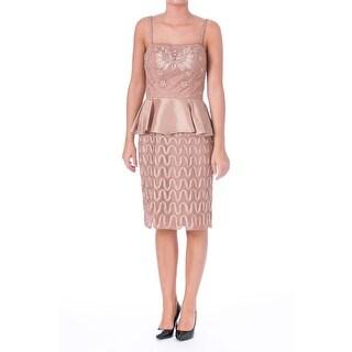 Sue Wong Womens Embellished Peplum Cocktail Dress - 2