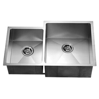 Dawn DSQ311815L Dual Mount Square Double Bowl, Small Bowl on Left