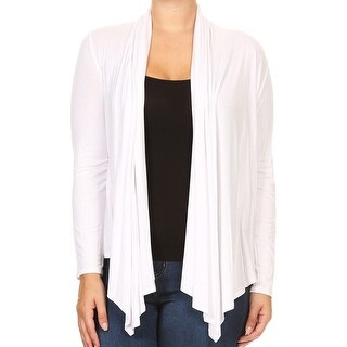 Women Plus Size Long Sleeve Cardigan Casual Cover Up White
