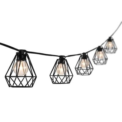 10-Light Indoor/Outdoor 10 ft. G40 Diamond Cage String Lights by JONATHAN Y - Black