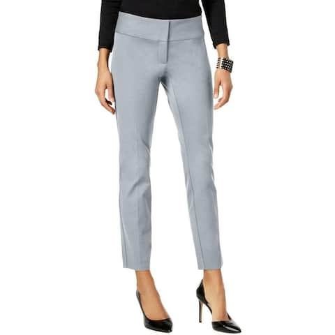 Alfani Womens Dress Pants Silver Size 16 Skum-Leg Flat-Front Stretch