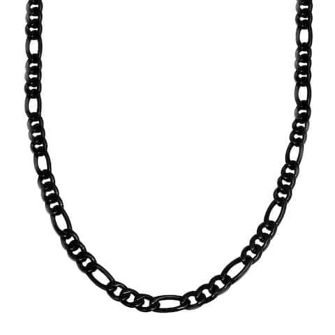 """Men's Large Figaro Chain Necklace in Black Stainless Steel, 24"""""""