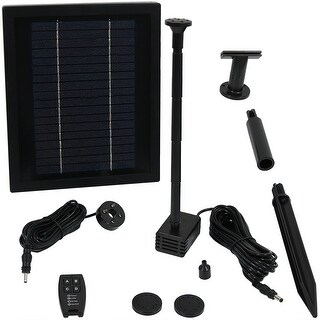 Sunnydaze 65 GPH Solar Pump Kit - Battery Pack - Remote Control - 47-Inch Lift