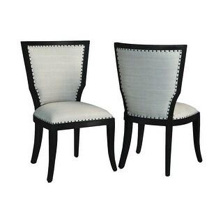 """GuildMaster 6916540P  24"""" Wide Two Piece Mahogany Framed Fabric Accent Chair Set - Grain De Bois Noir"""