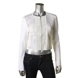 Elie Tahari Womens Pearson Leather Lace Pullover Top