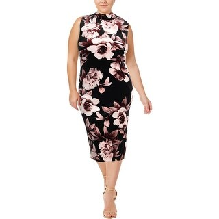 SLNY Womens Plus Party Dress Velvet Floral-Print - 22W