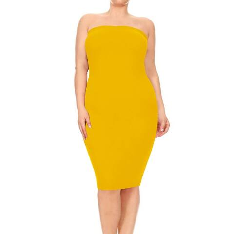 Women's Plus Size Solid Tube Top Midi Dress