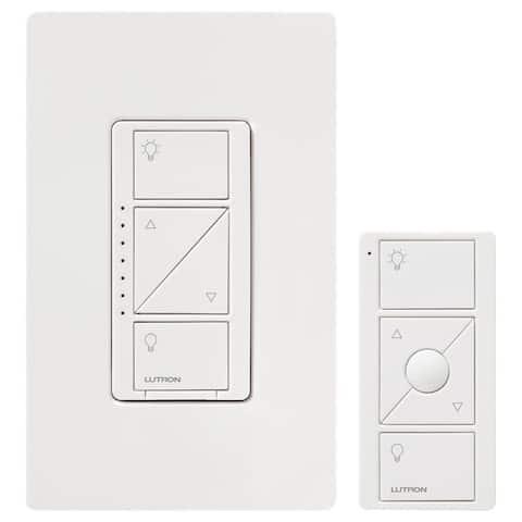 Lutron P-PKG1W-WH Caseta Wireless In-Wall Dimmer w/ Pico Remote Control, 150W