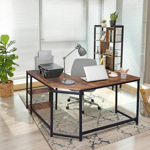 Veikous 53.5inch Industrial L-Shaped Computer Writing Desk