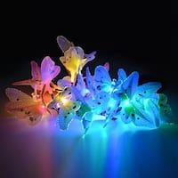20 LED Outdoor Fiber Optic Butterfly Solar String Light Colorful Lights Decorative Lights
