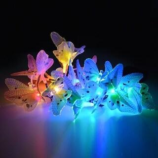 20 LED Outdoor Fiber Optic Butterfly Solar String Light Colorful Lights Decorative Lights