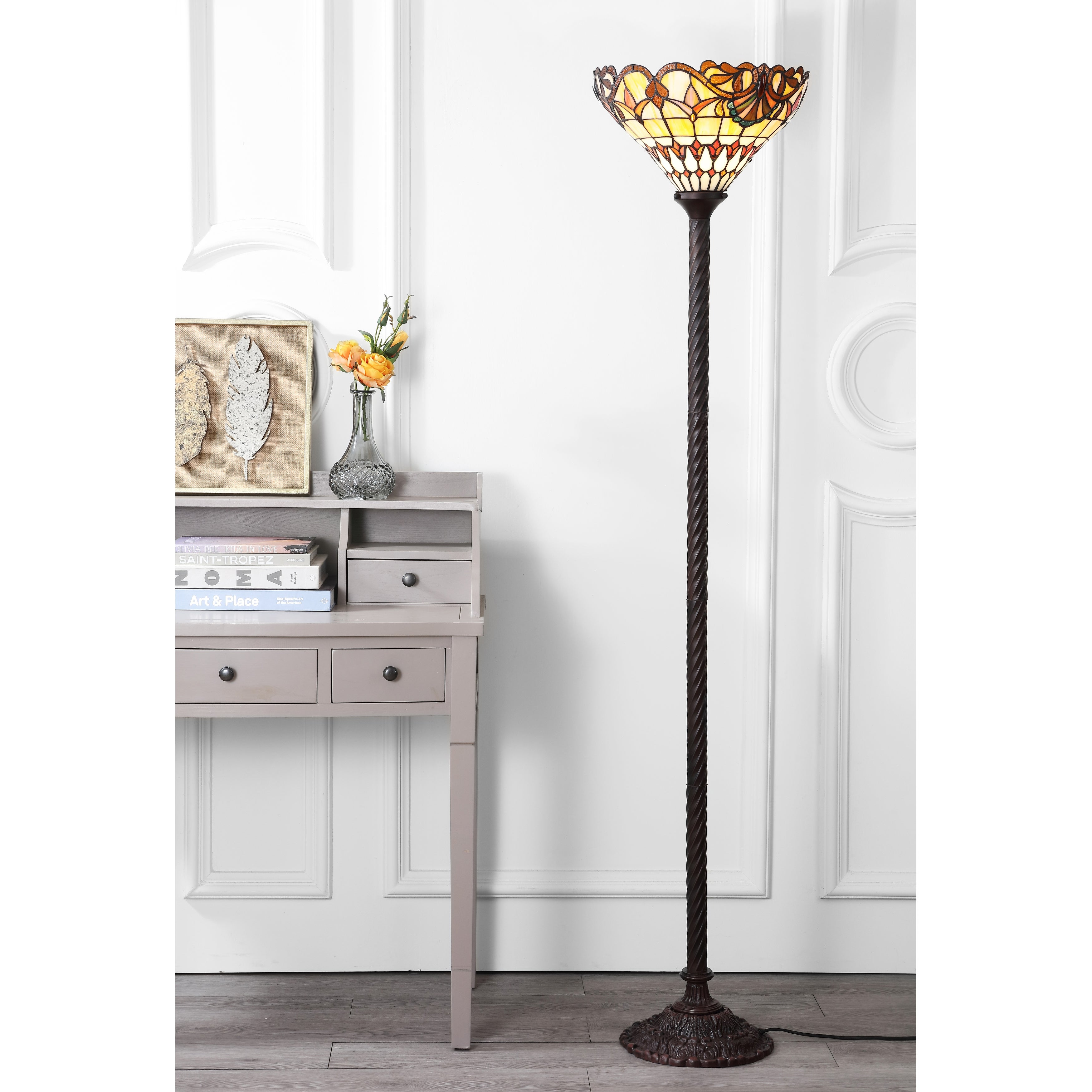 Davis Tiffany Style 70 Torchiere Led Floor Lamp Bronze By Jonathan Y 70 H X 15 W X 15 D Overstock 19549005