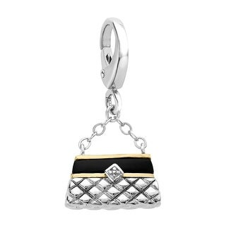1/2 ct Natural Onyx Handbag Charm in Sterling Silver & 14K Gold - Black