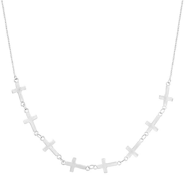 Just Gold Sideways Cross Necklace in 14K White Gold