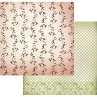 """Vintage Rose Garden Double-Sided Paper 12""""X12""""-Line Of Flowers"""