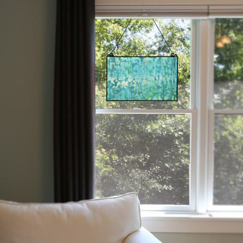 """River of Goods 10.75""""H Single Pane Mottled Blue Stained Glass Window Panel - 16""""L x 0.25""""W x 10.75""""H"""